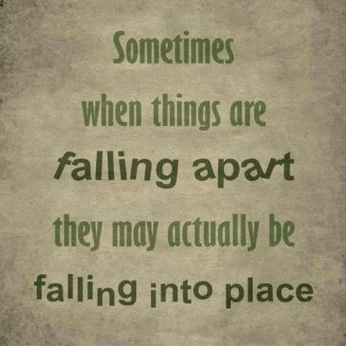 Memes, 🤖, and May: Sometimes  when things are  falling apart  they may actually be  falling into place