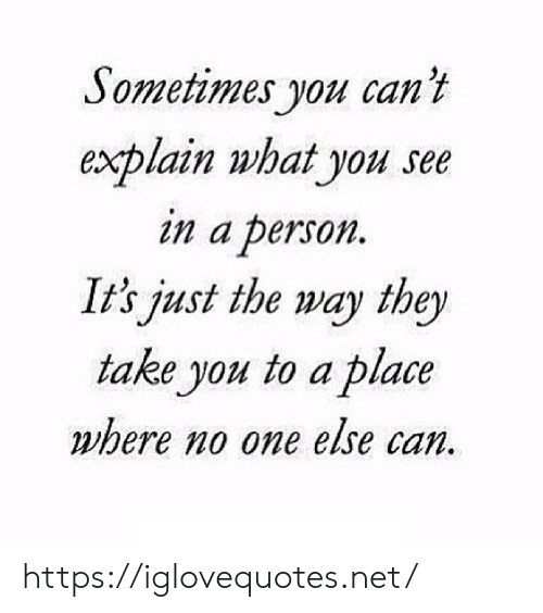Net, Can, and One: Sometimes you can't  explain what you see  in a person.  It's just the way they  take you to a place  where no one else can. https://iglovequotes.net/
