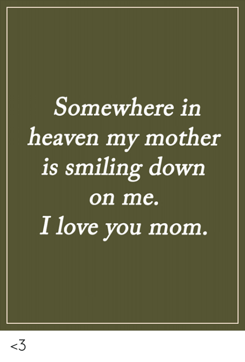 i love you mom: Somewhere in  heaven my mother  is smiling down  on me.  I love you mom. <3