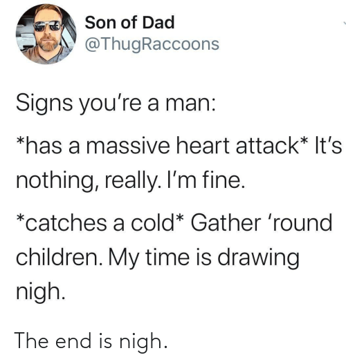 Round: Son of Dad  @ThugRaccoons  Signs you're a man:  *has a massive heart attack* It's  nothing, really. I'm fine.  *catches a cold* Gather 'round  children. My time is drawing  nigh. The end is nigh.