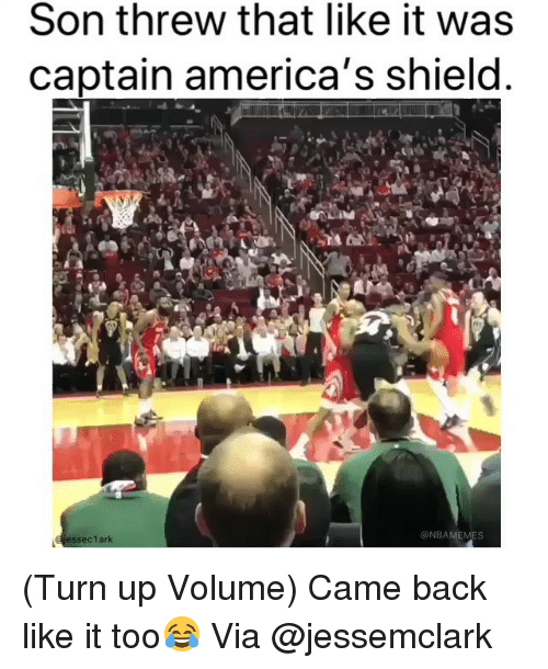 Basketball, Nba, and Sports: Son threw that like it was  captain america's shield  @NBAMEMES (Turn up Volume) Came back like it too😂 Via @jessemclark