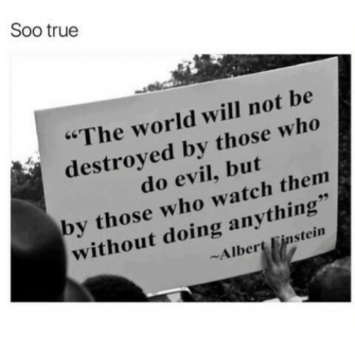 """Albert Einstein, True, and Einstein: Soo true  """"The world will not be  destroved by those who  do evil, but  by those who watch thenm  without doing anything  Albert Einstein"""
