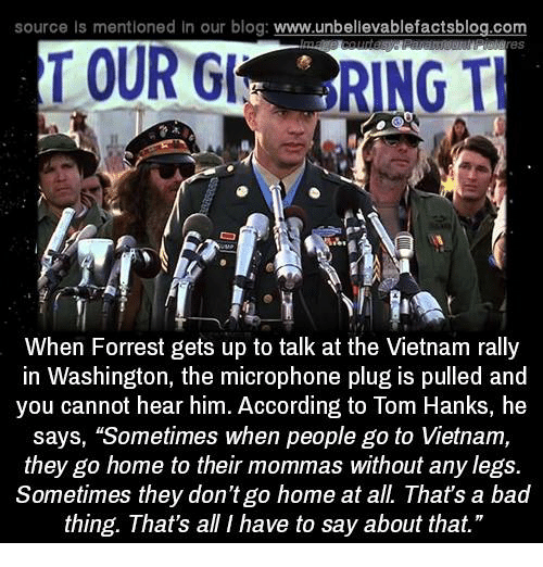 "Tom Hank: source Is mentioned In our blog  www.unbelievablefactsblog.com  TOUR  RING TH  When Forrest gets up to talk at the Vietnam rally  in Washington, the microphone plug is pulled and  you cannot hear him. According to Tom Hanks, he  says, ""Sometimes when people go to Vietnam,  they go home to their mommas without any legs.  Sometimes they don't go home at all. That's a bad  thing. That's all I have to say about that."""