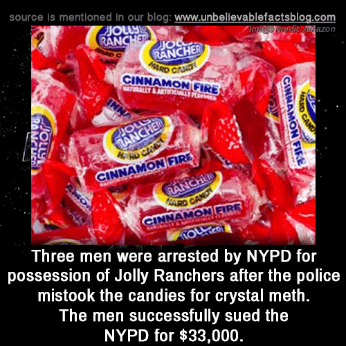 jolly: source is mentioned in our blog: www.unbellevablefactsblog.com  edit Anazon  AN  JIO  RANCHER  CINNAMON GIRE  0  NNAMON FIRE  INNAMON FIRE  Three men were arrested by NYPD for  possession of Jolly Ranchers after the police  mistook the candies for crystal meth  The men successfully sued the  NYPD for $33,000