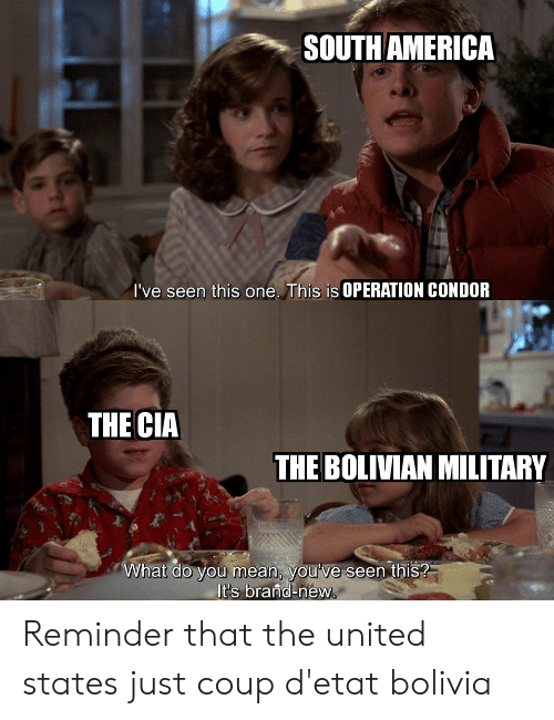 operation: SOUTH AMERICA  I've seen this one. This is OPERATION CONDOR  THE CIA  THE BOLIVIAN MILITARY  What do you mean, you've seen this?  It's brand-new. Reminder that the united states just coup d'etat bolivia