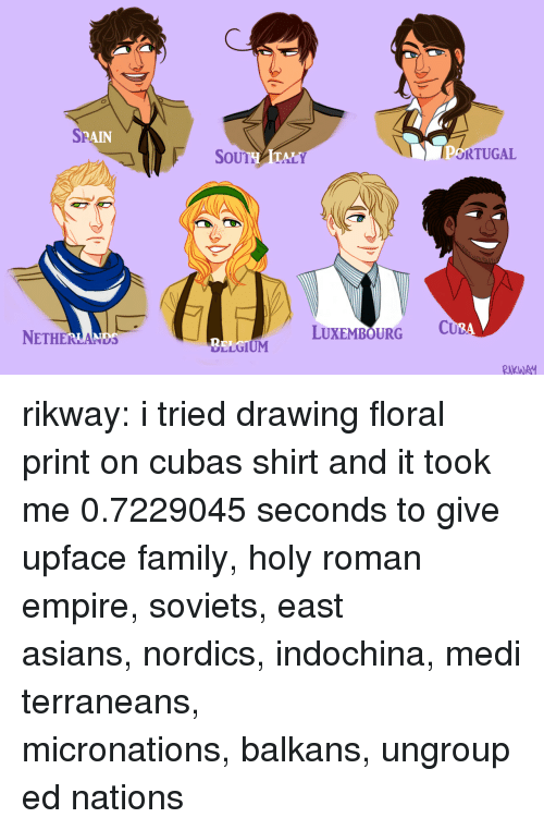 drumming: SP  RAIN  SoUTHATALY  ORTUGAL  NETHERLANDS  LUXEMBOURG C  2  LLGIUM  RKWA rikway:  i tried drawing floral print on cubas shirt and it took me 0.7229045 seconds to give upface family,holy roman empire,soviets,east asians,nordics,indochina,mediterraneans,   micronations,balkans,ungrouped nations