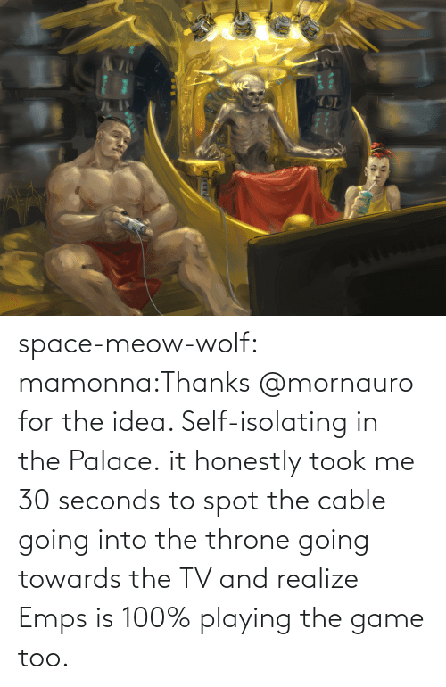 Honestly: space-meow-wolf:  mamonna:Thanks @mornauro for the idea. Self-isolating in the Palace. it honestly took me 30 seconds to spot the cable going into the throne going towards the TV and realize Emps is 100% playing the game too.
