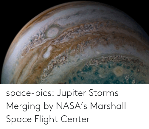 NASA: space-pics:  Jupiter Storms Merging by NASA's Marshall Space Flight Center