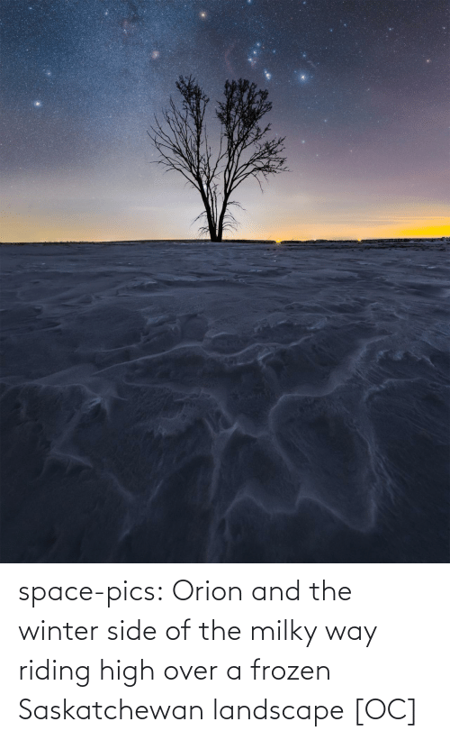 Winter: space-pics:  Orion and the winter side of the milky way riding high over a frozen Saskatchewan landscape [OC]