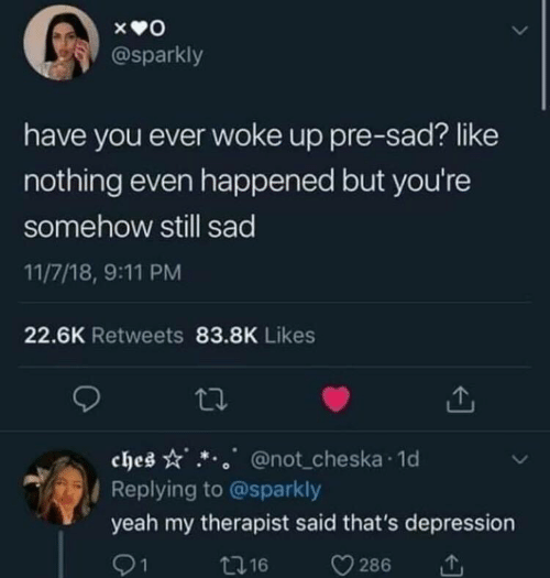 9/11, Yeah, and Depression: @sparkly  have you ever woke up pre-sad? like  nothing even happened but you're  somehow still sad  11/7/18, 9:11 PM  22.6K Retweets 83.8K Likes  ches  @not cheska 1d  / Replying to @sparkly  yeah my therapist said that's depression