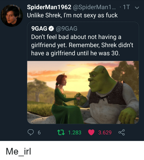 9gag, Bad, and Sexy: SpiderMan1962 @SpiderMan1. 1T  Unlike Shrek, I'm not sexy as fuck  9GAG @9GAG  Don't feel bad about not having a  girlfriend yet. Remember, Shrek didn't  have a girlfriend until he was 30.  6 п 1.283 3.629 ç Me_irl