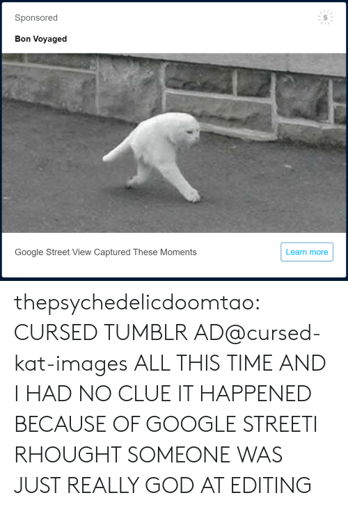 No Clue: Sponsored  Bon Voyaged  Google Street View Captured These Moments  Learn more thepsychedelicdoomtao:  CURSED TUMBLR AD@cursed-kat-images  ALL THIS TIME AND I HAD NO CLUE IT HAPPENED BECAUSE OF GOOGLE STREETI RHOUGHT SOMEONE WAS JUST REALLY GOD AT EDITING