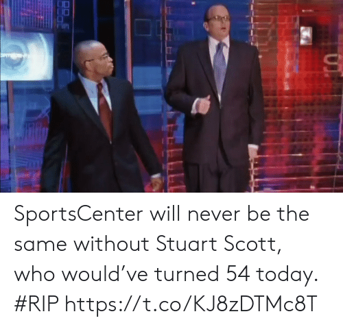 Sports, SportsCenter, and Stuart Scott: SportsCenter will never be the same without Stuart Scott, who would've turned 54 today. #RIP https://t.co/KJ8zDTMc8T