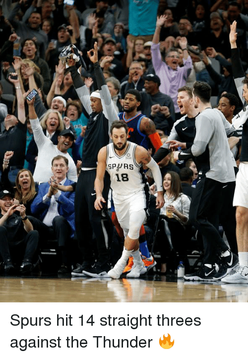 Threes: SPPRS  18 Spurs hit 14 straight threes against the Thunder 🔥