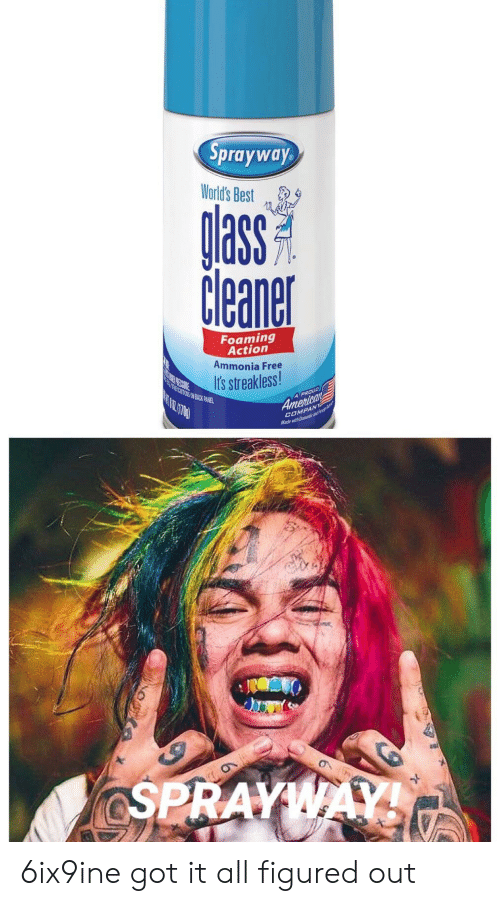 Best, Free, and Proud: Sprayway  World's Best  glass  Cleaner  Foaming  Action  Ammonia Free  PEORE  Its streakless!  A PROUD  Amertean  ENT KOVE MOS A  COMPAN  Made with Dmest  ON  KOSPRAYWAY 6ix9ine got it all figured out