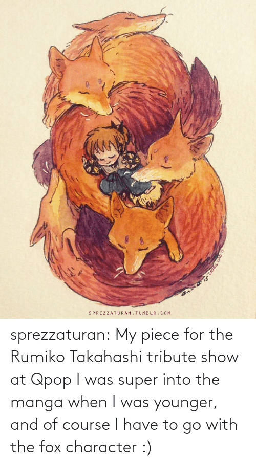 When I Was: sprezzaturan: My piece for the Rumiko Takahashi tribute show at Qpop I was super into the manga when I was younger, and of course I have to go with the fox character :)