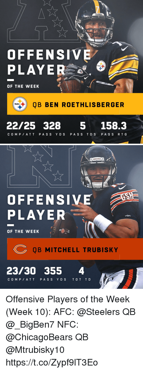 Ben Roethlisberger, Memes, and At&t: St  OFFENSIVE  PLAYER  OF THE WEEK  QB BEN ROETHLISBERGER  Steelers  22/25 328 5 158.3  C O MP AT T P AS S Y DS PA SS T D S PA S S R T G   OFFENSIVE  PLAYER  OF THE WEEK  QB MITCHELL TRUBISKY  23/30 355 4  C O M P AT T PA S S YDS T O T T D Offensive Players of the Week (Week 10):  AFC: @Steelers QB @_BigBen7 NFC: @ChicagoBears QB @Mtrubisky10 https://t.co/Zypf9lT3Eo
