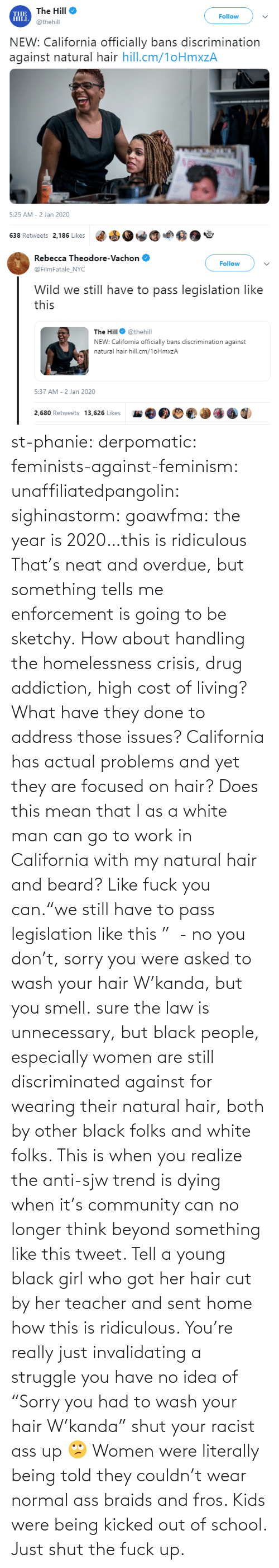 "Girl: st-phanie:  derpomatic:  feminists-against-feminism:  unaffiliatedpangolin:  sighinastorm:   goawfma: the year is 2020…this is ridiculous That's neat and overdue, but something tells me enforcement is going to be sketchy.    How about handling the homelessness crisis, drug addiction, high cost of living? What have they done to address those issues? California has actual problems and yet they are focused on hair?  Does this mean that I as a white man can go to work in California with my natural hair and beard?  Like fuck you can.""we still have to pass legislation like this ""  - no you don't, sorry you were asked to wash your hair W'kanda, but you smell.    sure the law is unnecessary, but black people, especially women are still discriminated against for wearing their natural hair, both by other black folks and white folks. This is when you realize the anti-sjw trend is dying when it's community can no longer think beyond something like this tweet. Tell a young black girl who got her hair cut by her teacher and sent home how this is ridiculous. You're really just invalidating a struggle you have no idea of   ""Sorry you had to wash your hair W'kanda"" shut your racist ass up 🙄 Women were literally being told they couldn't wear normal ass braids and fros. Kids were being kicked out of school. Just shut the fuck up."