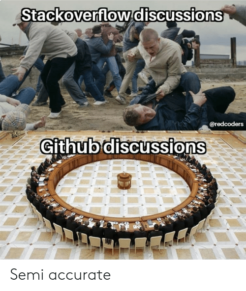 Github, Semi, and Accurate: Stackoverflowdiscussions  @redcoders  Github discussions Semi accurate