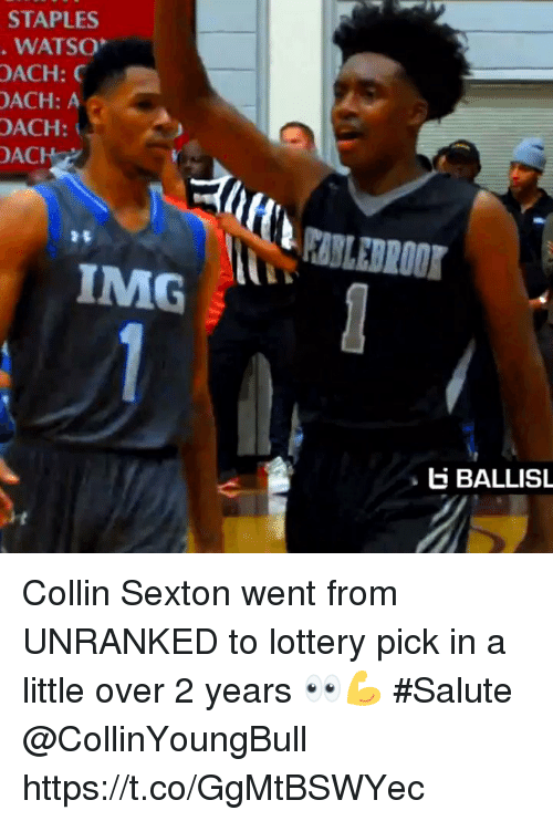 Lottery, Memes, and Staples: STAPLES  WATSO  OACH:  ACH: A  OACH:  ACH  IMG  E BALLISL Collin Sexton went from UNRANKED to lottery pick in a little over 2 years 👀💪 #Salute @CollinYoungBull https://t.co/GgMtBSWYec