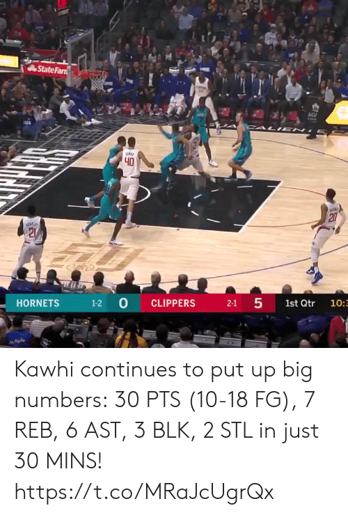 kawhi: State Farn  AG  CALI EN  40  20  21  1-2 0  5  CLIPPERS  HORNETS  2-1  1st Qtr  10:3  27 Kawhi continues to put up big numbers: 30 PTS (10-18 FG), 7 REB, 6 AST, 3 BLK, 2 STL in just 30 MINS!  https://t.co/MRaJcUgrQx