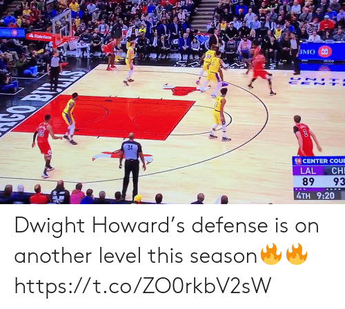 Dwight Howard, Memes, and Statefarm: StateFarm  ВМО  UN  CE N  CENTER COUE  LAL  CH  89  93  4TH 9:20 Dwight Howard's defense is on another level this season🔥🔥 https://t.co/ZO0rkbV2sW
