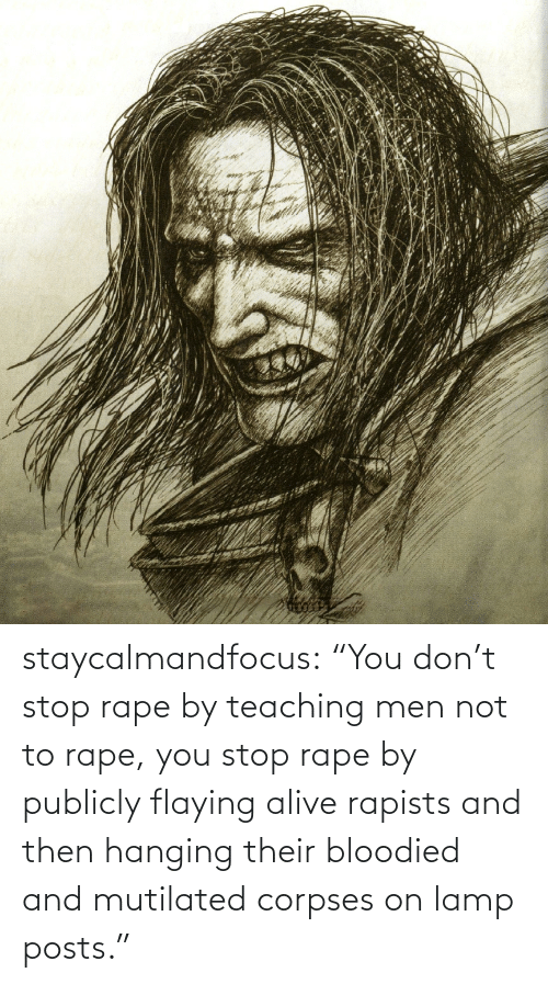 "Rape: staycalmandfocus:  ""You don't stop rape by teaching men not to rape, you stop rape by publicly flaying alive rapists and then hanging their bloodied and mutilated corpses on lamp posts."""