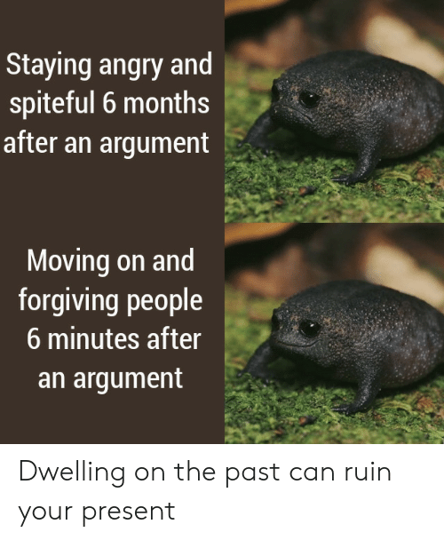 Angry: Staying angry and  spiteful 6 months  after an argument  Moving on and  forgiving people  6 minutes after  an argument Dwelling on the past can ruin your present