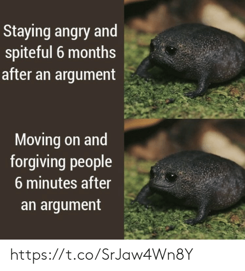 Angry: Staying angry and  spiteful 6 months  after an argument  Moving on and  forgiving people  6 minutes after  an argument https://t.co/SrJaw4Wn8Y