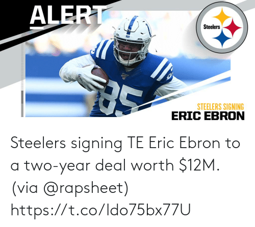 via: Steelers signing TE Eric Ebron to a two-year deal worth $12M. (via @rapsheet) https://t.co/ldo75bx77U