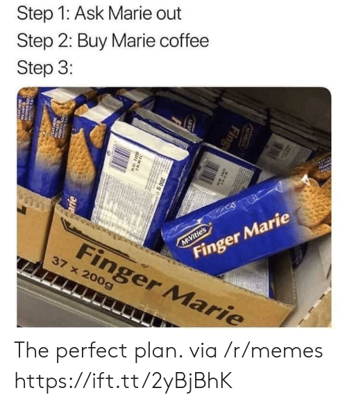 fing: Step 1: Ask Marie out  Step 2: Buy Marie coffee  Step 3:  AP  Finger Marie  M Vitie's  Finger Marie  37 x 200g  M S  Fing  MV  200 g e  38N  arie  w The perfect plan. via /r/memes https://ift.tt/2yBjBhK