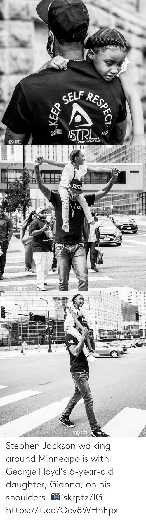 Stephen: Stephen Jackson walking around Minneapolis with George Floyd's 6-year-old daughter, Gianna, on his shoulders.   📷 skrptz/IG https://t.co/Ocv8WHhEpx