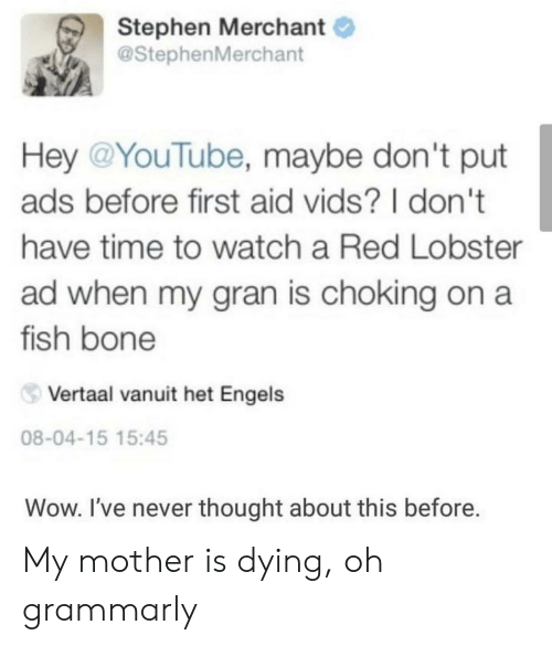 dont-have-time: Stephen Merchant  @StephenMerchant  Hey @YouTube, maybe don't put  ads before first aid vids? I don't  have time to watch a Red Lobster  ad when my gran is choking on a  fish bone  Vertaal vanuit het Engels  08-04-15 15:45  Wow. I've never thought about this before. My mother is dying, oh grammarly