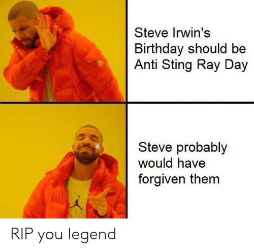 Birthday, Sting, and Anti: Steve Irwin's  Birthday should be  Anti Sting Ray Day  Steve probably  would have  forgiven them RIP you legend