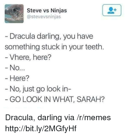 Memes, Dracula, and Http: Steve vs Ninjas  @stevevsninjas  Dracula darling, you have  something stuck in your teeth.  Vhere, here?  No  Here?  - No, just go look in-  GO LOOK IN WHAT, SARAH? Dracula, darling via /r/memes http://bit.ly/2MGfyHf