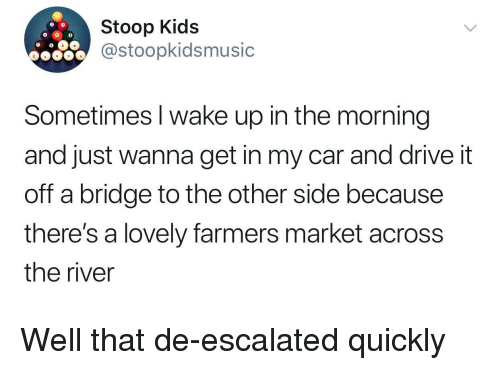 Drive, Kids, and Car: Stoop Kids  @stoopkidsmusic  Sometimes l wake up in the morning  and just wanna get in my car and drive it  off a bridge to the other side because  theres a lovely farmers market acrosS  the river Well that de-escalated quickly
