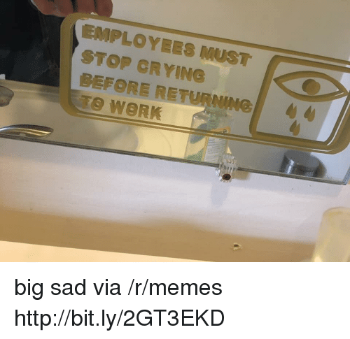 Crying, Memes, and Work: STOP CRYING  BEFORE RETURNING  TO WORK big sad via /r/memes http://bit.ly/2GT3EKD