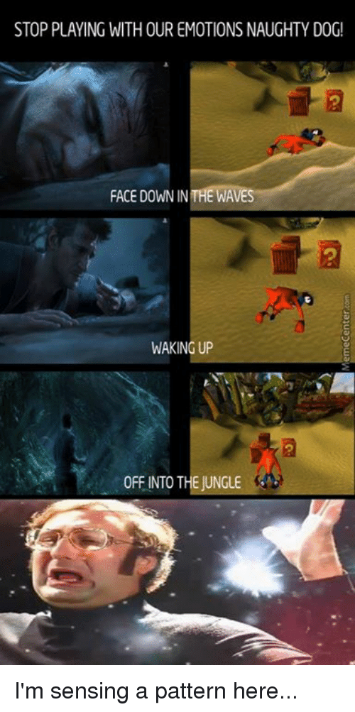 Dog Faces: STOP PLAYING WITHOUR EMOTIONS NAUGHTY DOG!  FACE DOWN IN THE WAVE  WAKING UP  0FFINTO THE JUNGLE I'm sensing a pattern here...