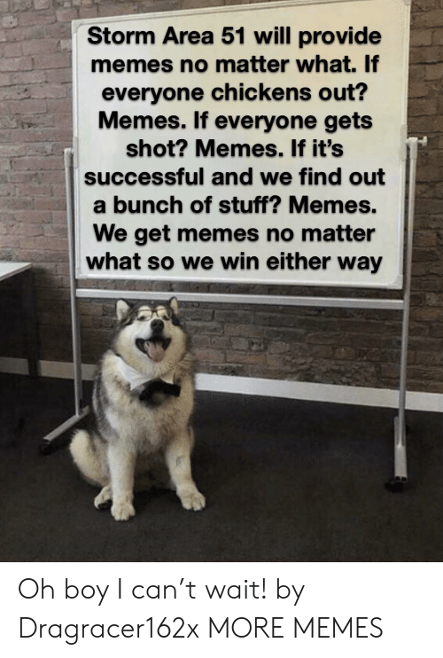 Dank, Memes, and Target: Storm Area 51 will provide  memes no matter what. If  everyone chickens out?  Memes. If everyone gets  shot? Memes. If it's  successful and we find out  a bunch of stuff? Memes.  We get memes no matter  what so we win either way Oh boy I can't wait! by Dragracer162x MORE MEMES
