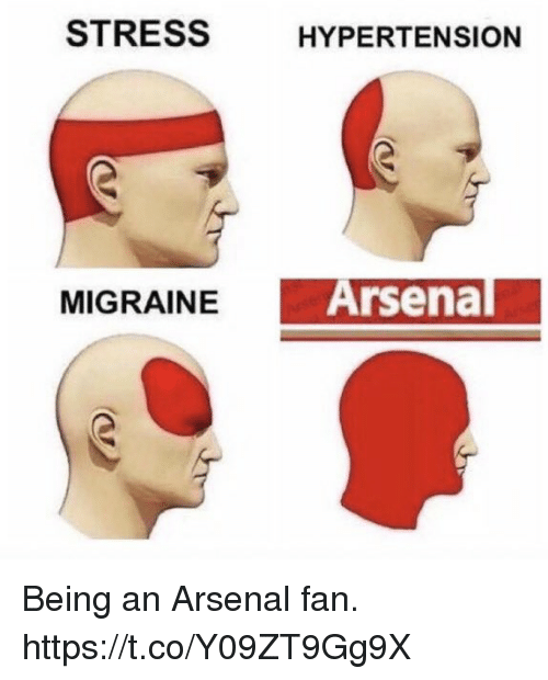 hypertension: STRESS  HYPERTENSION  MIGRAINEA  Arsenal Being an Arsenal fan. https://t.co/Y09ZT9Gg9X