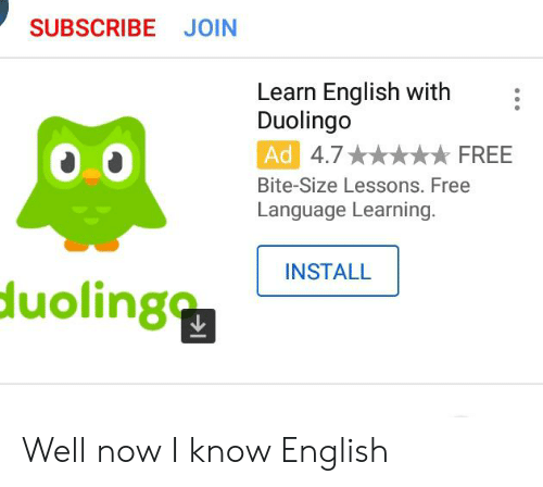 SUBSCRIBE JOIN Learn English With Duolingo Ad 47 FREE Bite