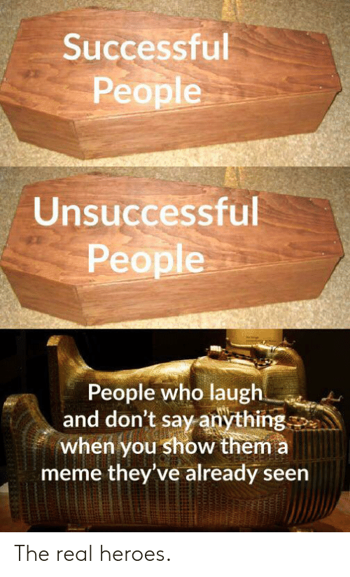 Say Anything...: Successful  People  Unsuccessful  People  People who laugh  and don't say anything  when you show them a  meme they've already seen The real heroes.