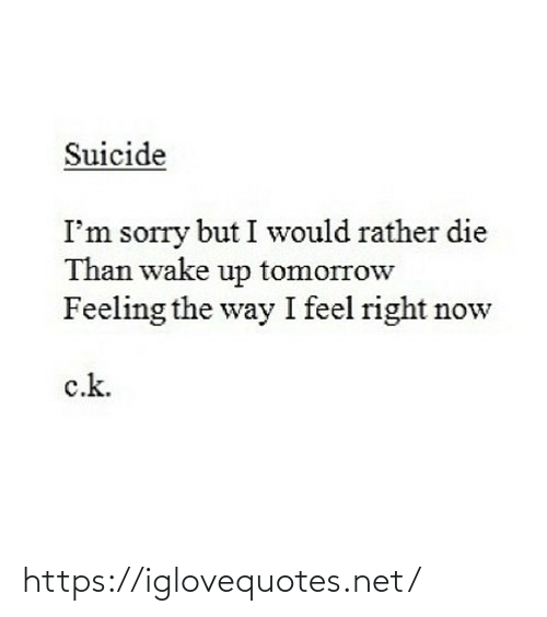 wake up: Suicide  I'm sorry but I would rather die  Than wake up tomorrow  Feeling the way I feel right now  c.k. https://iglovequotes.net/