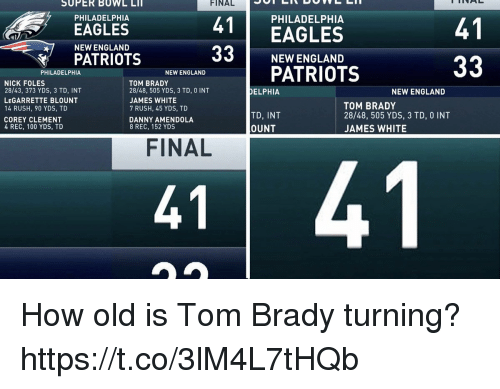 Anaconda, Philadelphia Eagles, and England: SUPER BOWL LIT  FINAL  PHILADELPHIA  EAGLES  NEW ENGLAND  PATRIOTS  PHILADELPHIA  41  4EAGLES  41  NEW ENGLAND  PATRIOTS  PHILADELPHIA  NEW ENGLAND  NICK FOLES  28/43, 373 YDS, 3 TD, INT  LEGARRETTE BLOUNT  14 RUSH, 90 YDS, TD  COREY CLEMENT  4 REC, 100 YDS, TD  TOM BRADY  28/48, 505 YDS, 3 TD, 0 INT  JAMES WHITE  7 RUSH, 45 YDS, TD  DANNY AMENDOLA  8 REC, 152 YDS  DELPHIA  NEW ENGLAND  TD, INT  OUNT  TOM BRADY  28/48, 505 YDS, 3 TD, 0 INT  JAMES WHITE  FINAL  41  41 How old is Tom Brady turning? https://t.co/3lM4L7tHQb