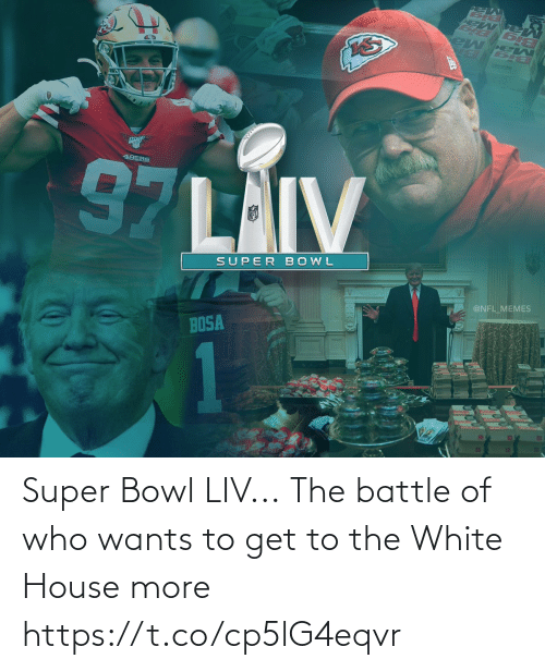 White House: Super Bowl LIV...  The battle of who wants to get to the White House more https://t.co/cp5lG4eqvr