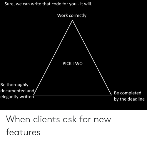 Work, Ask, and Code: Sure, we can write that code for you - it will..  Work correctly  PICK TWO  Be thoroughly  documented and,  elegantly written  Be completed  by the deadline When clients ask for new features