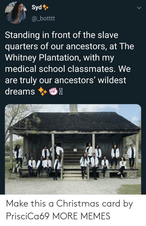 Christmas, Dank, and Memes: Syd  @_botttt  Standing in front of the slave  quarters of our ancestors, at The  Whitney Plantation, with my  medical school classmates. We  are truly our ancestors' wildest  dreams  HP Make this a Christmas card by PrisciCa69 MORE MEMES