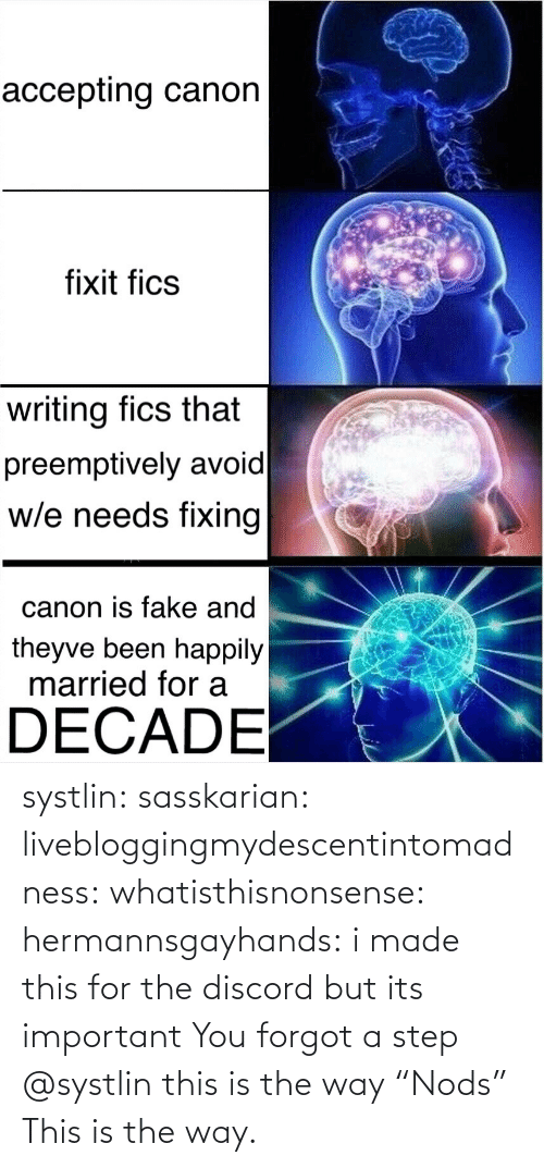 """discord: systlin:   sasskarian:  livebloggingmydescentintomadness:  whatisthisnonsense:  hermannsgayhands: i made this for the discord but its important You forgot a step   @systlin this is the way  """"Nods"""" This is the way."""