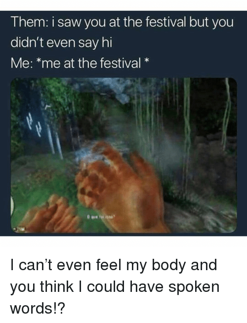 Memes, Saw, and Festival: T hem: I saw you at the festival but you  didn't even say hi  Me: *me at the festival* I can't even feel my body and you think I could have spoken words!?