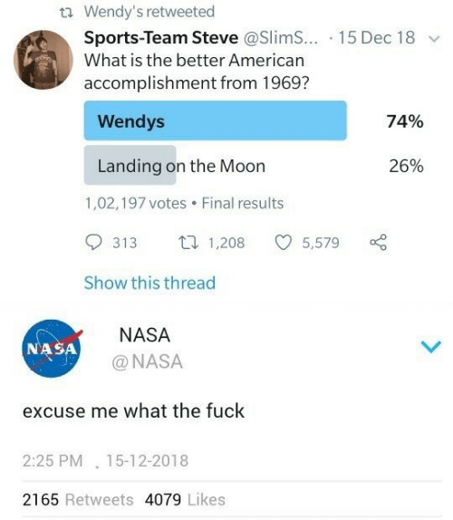 Nasa, Sports, and Wendys: t Wendy's retweeted  Sports-Team Steve @Slim... 15 Dec 18  What is the better American  accomplishment from 1969?  Wendys  74%  Landing on the Moon  26%  1,02,197 votes  Final results  1,208  313  5,579  Show this thread  NASA  NASA  @NASA  excuse me what the fuck  2:25 PM 15-12-2018  2165 Retweets 4079 Likes
